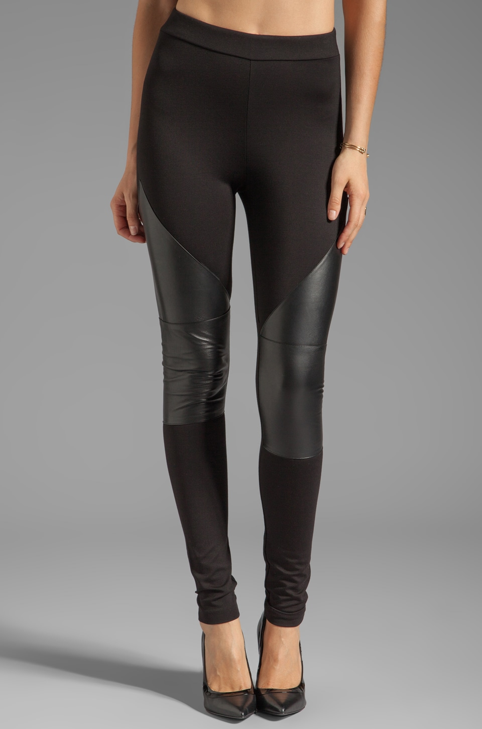 LA Made Lambskin Contrast Legging in Black