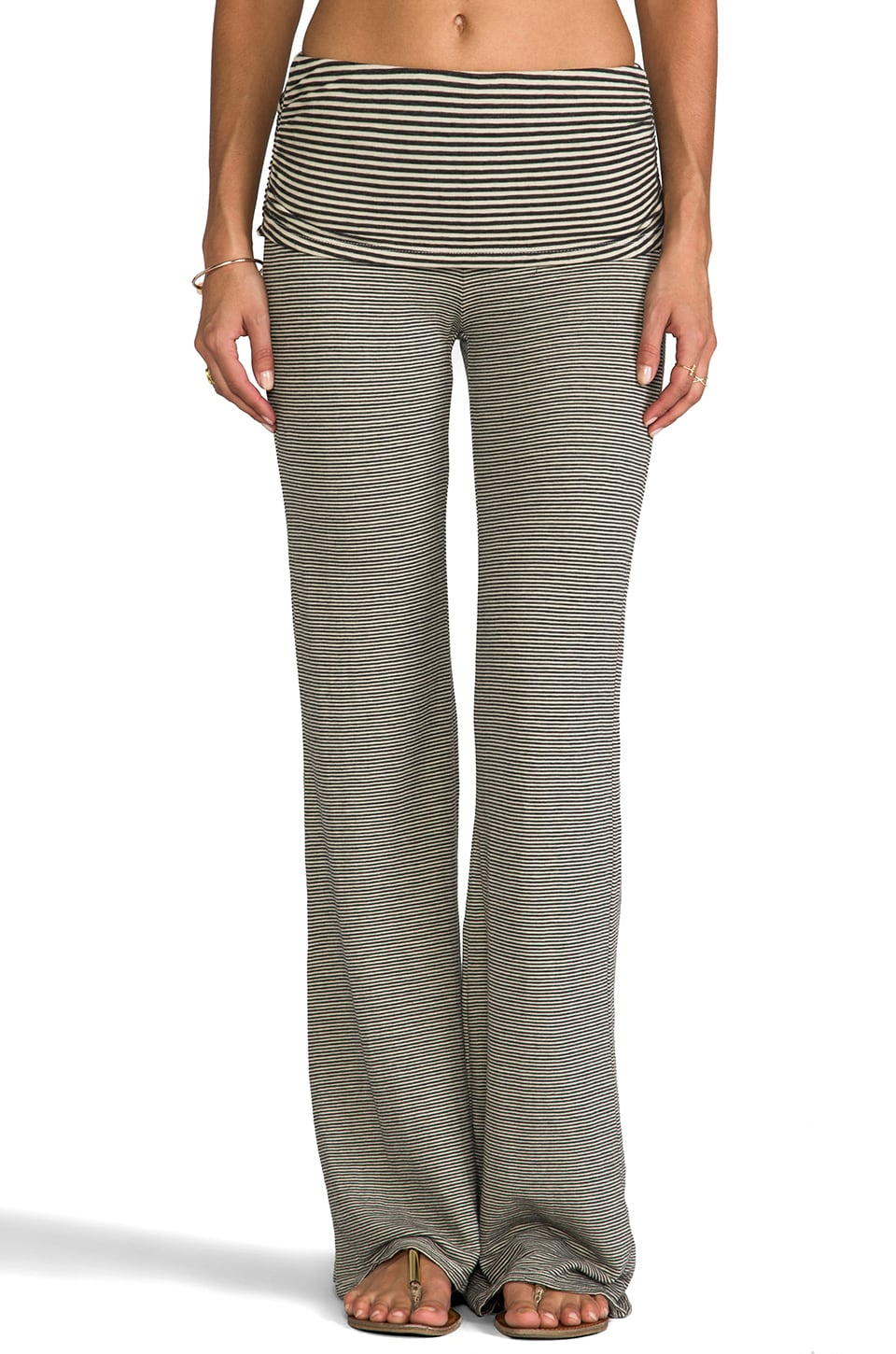 LA Made Stripe Double Knit Fold Over Wide Leg Pant in Angora