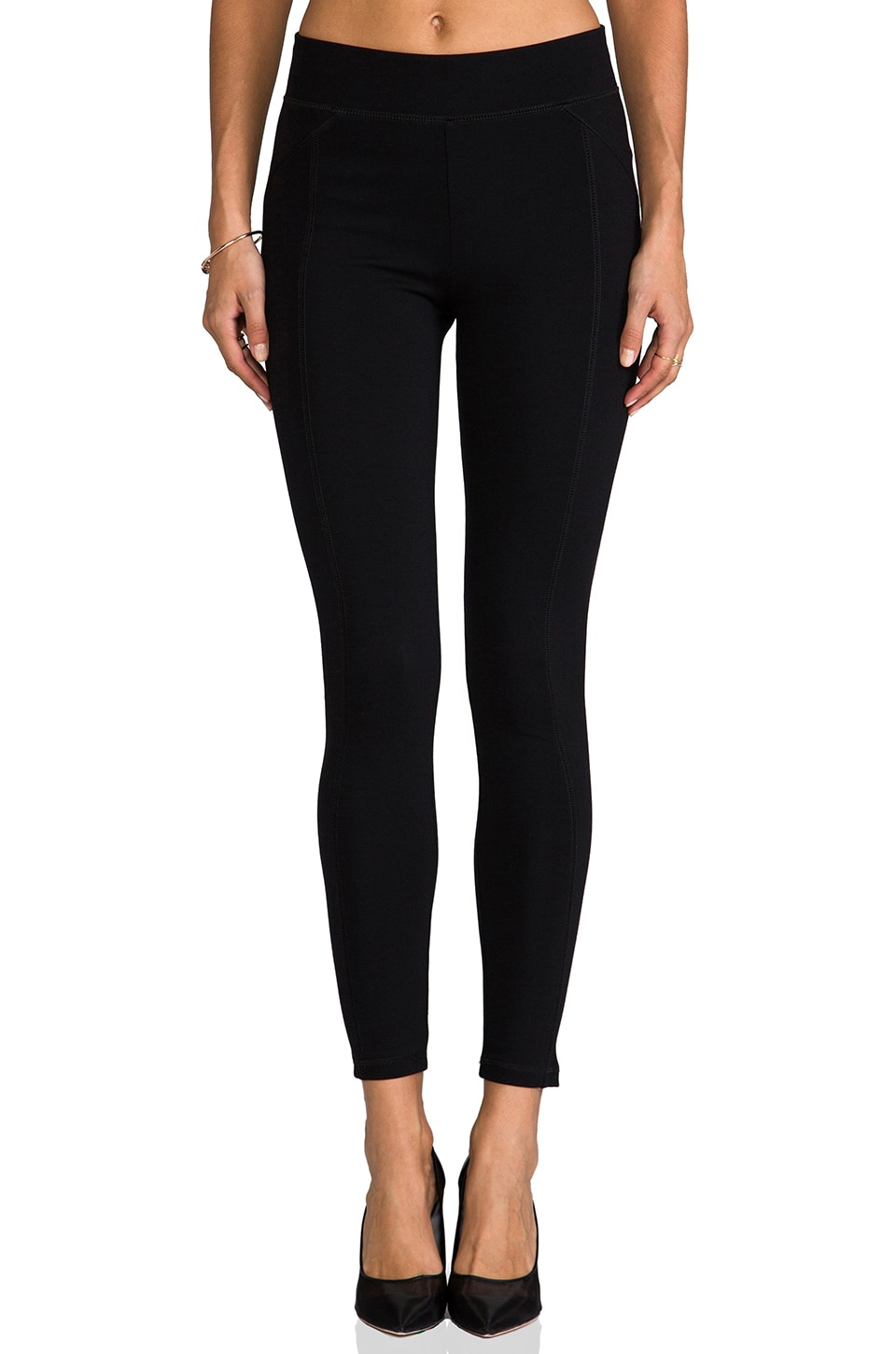 LA Made Solid Ponte Paneled Legging in Black