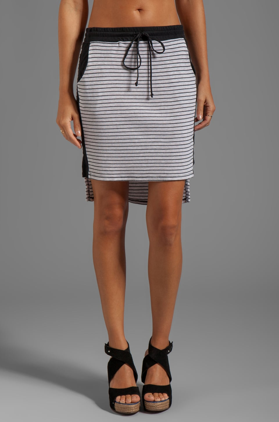 LA Made High-Low Pencil Skirt in Oatmeal/Black