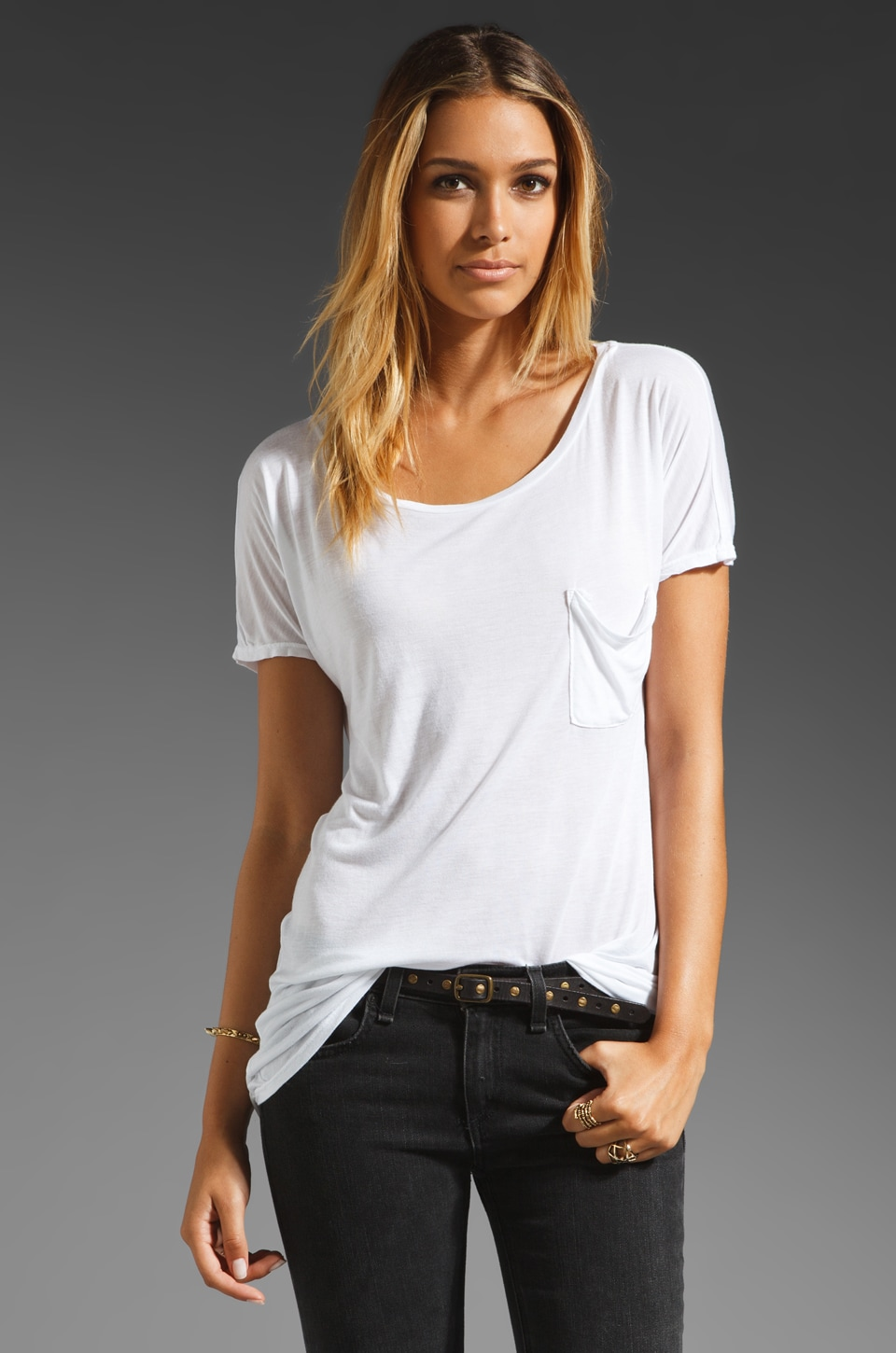 LA Made Micromodal Drop Shoulder Tee in White