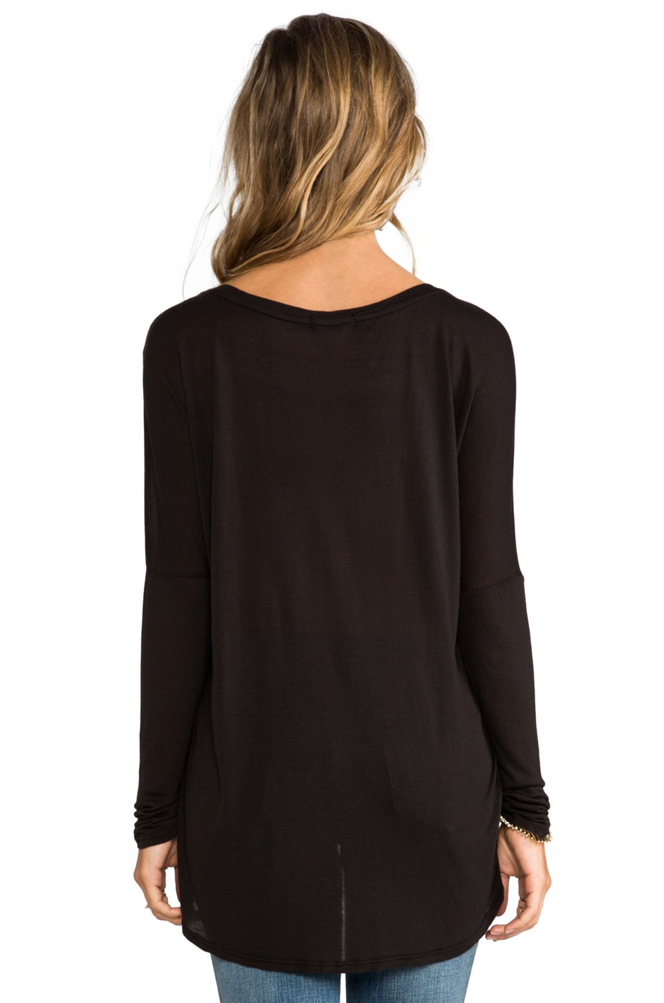 LA Made Micromodal Dropped Shoulder Top in Black