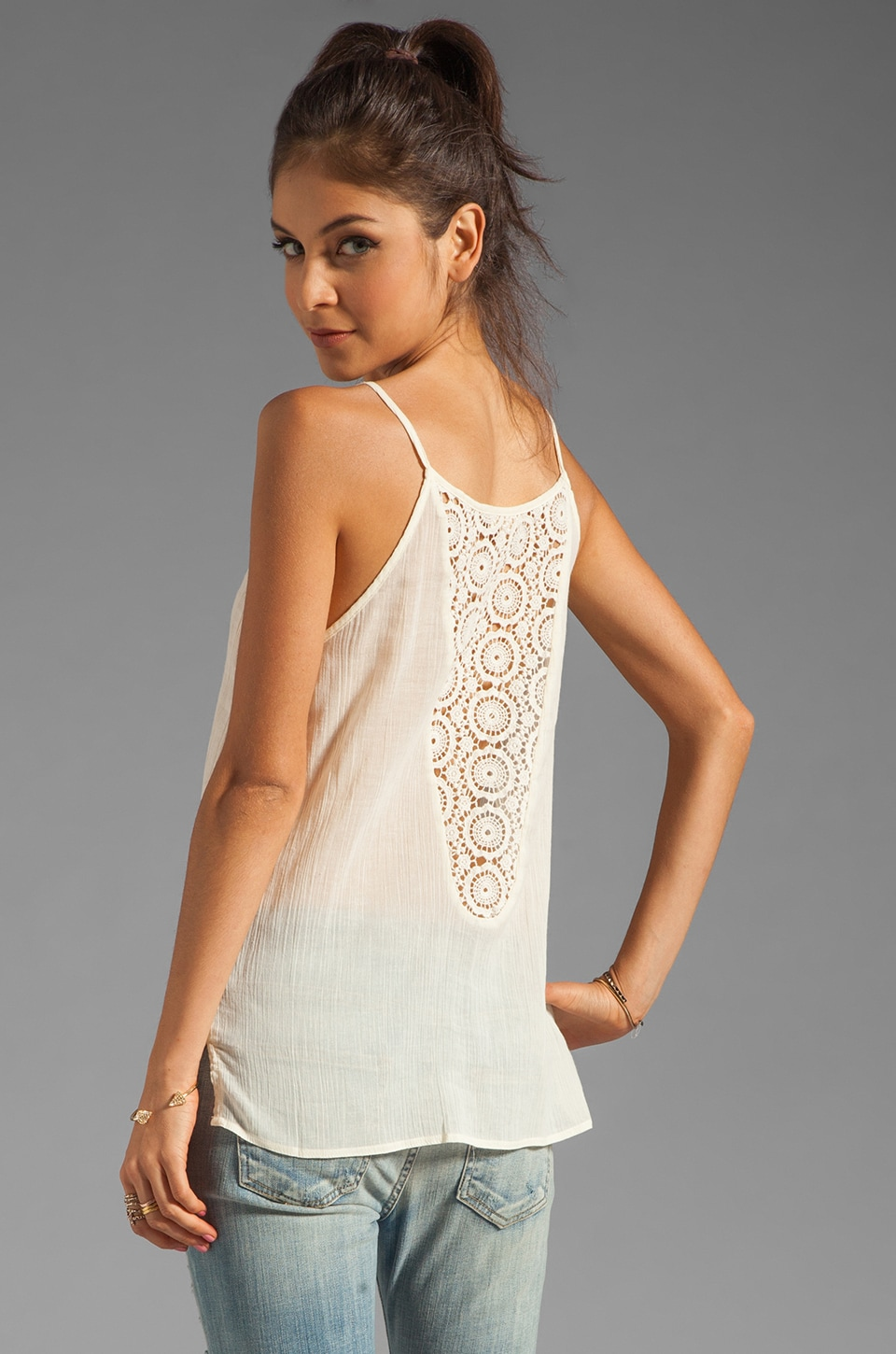 LA Made Flowy Tank with Crochet Back in Coconut