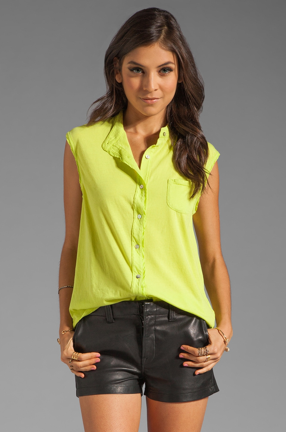 LA Made Button Front Tank in Mojito