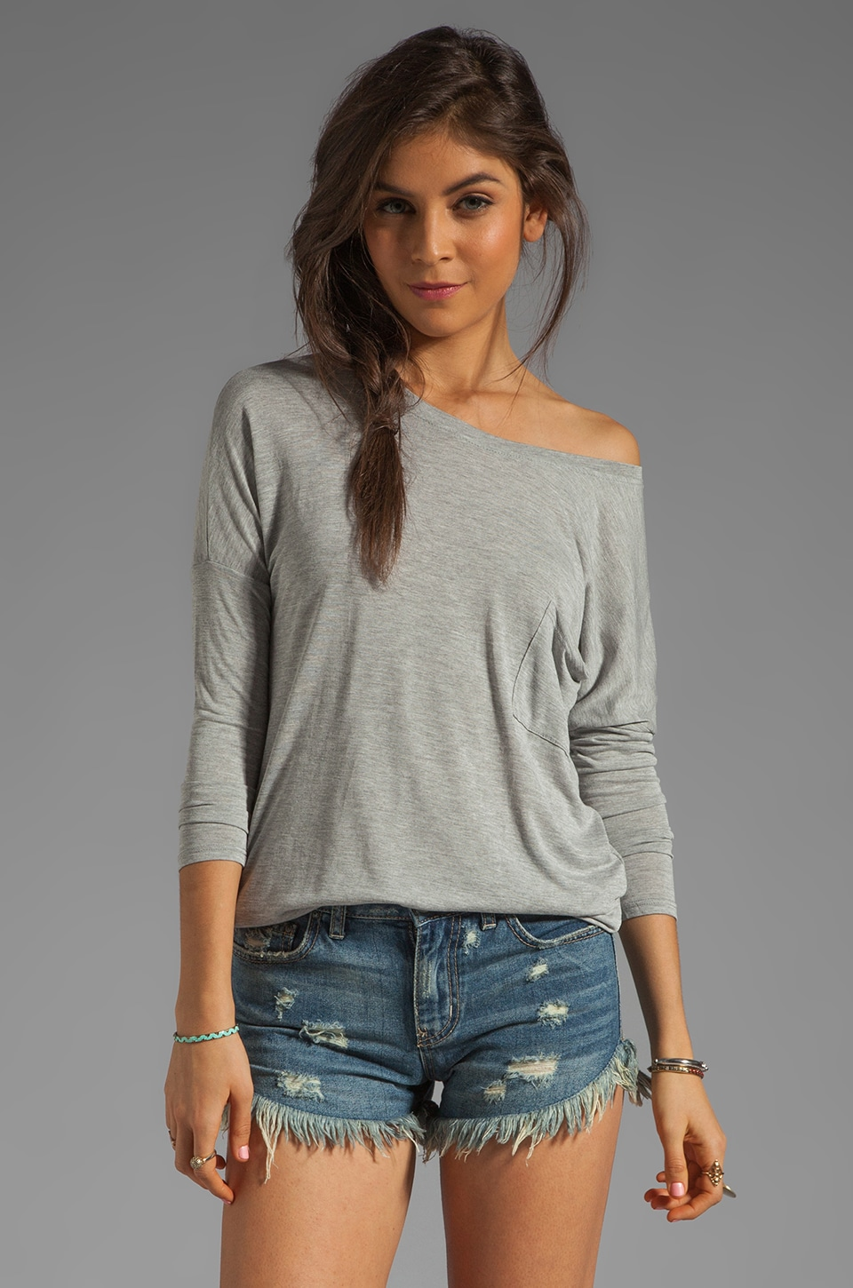 LA Made Micromodal Long Sleeve Drop Shoulder Top in Heather Grey