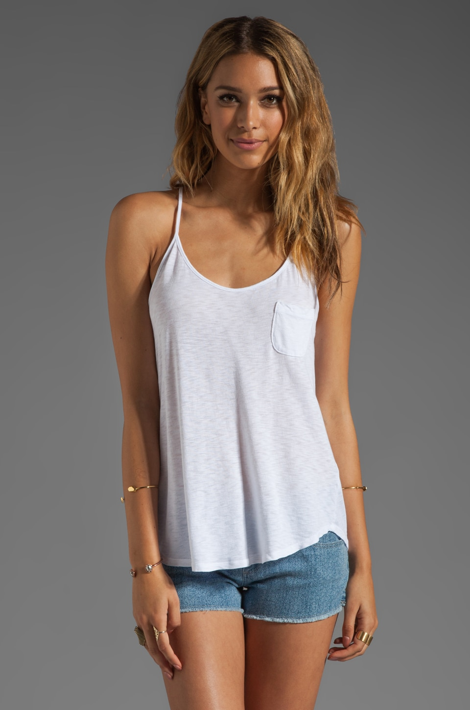 LA Made Slub Jersey Flowy Cami in White