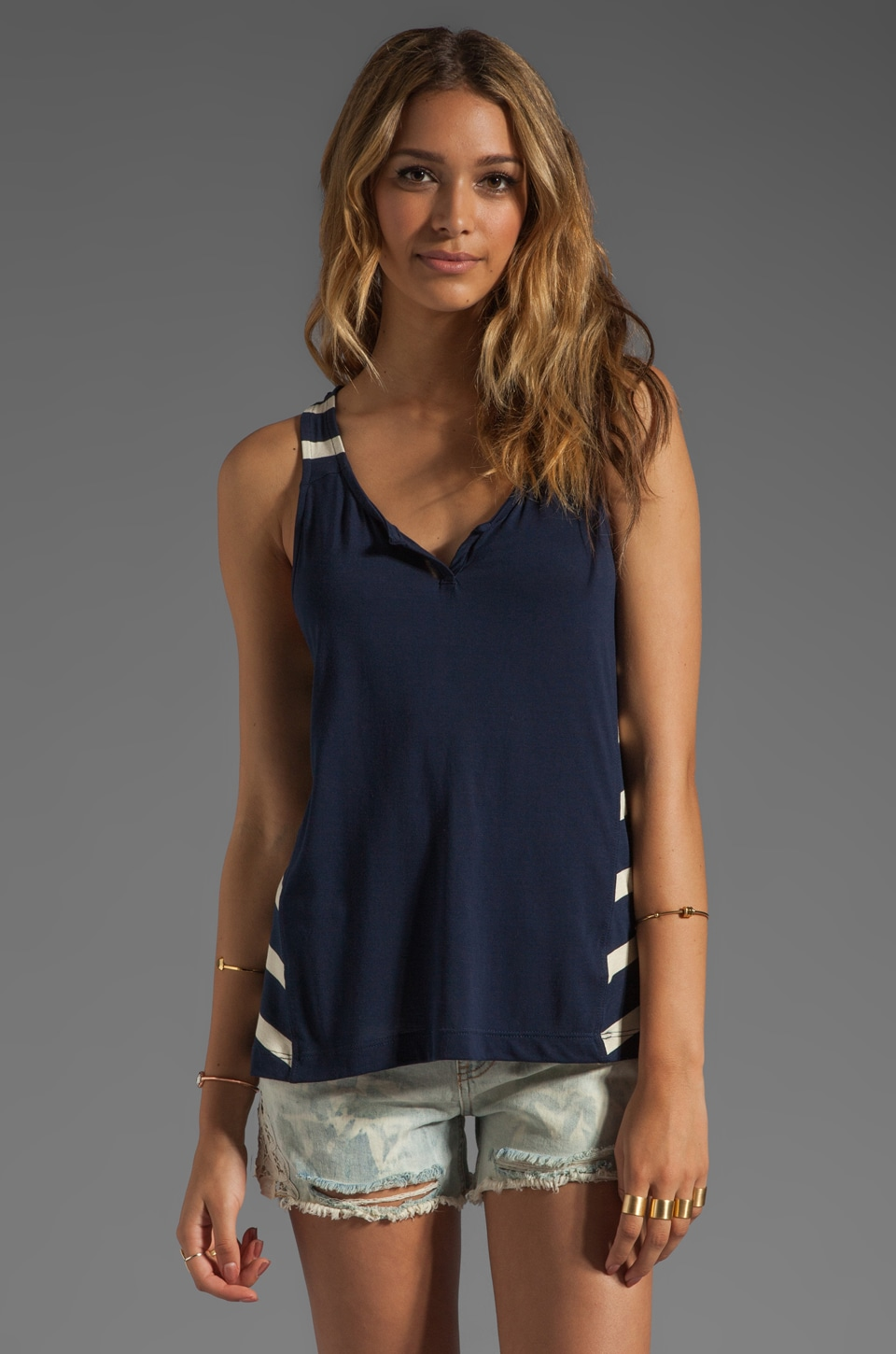 LA Made Stripe Racerback Tank with Side Panels in Galaxy/Oatmeal