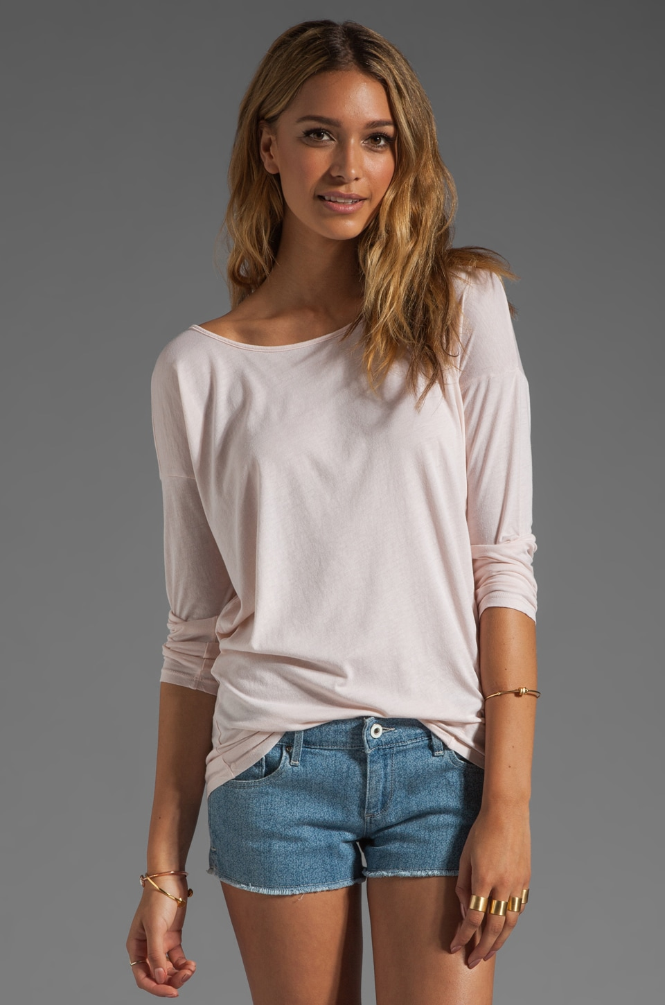 LA Made Supima Long Sleeve Boat Neck Tee in Peony