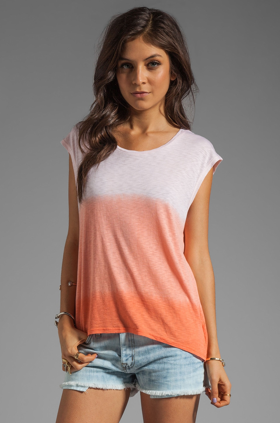 LA Made Ombre Slub Jersey Dolman Top in Grapefruit Coral