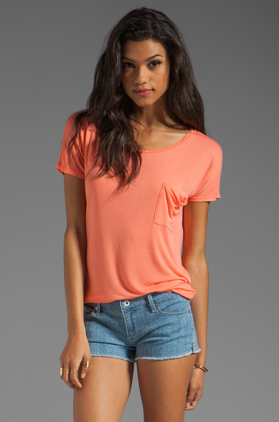 LA Made Micromodal Drop Shoulder Tee in Grapefruit Coral