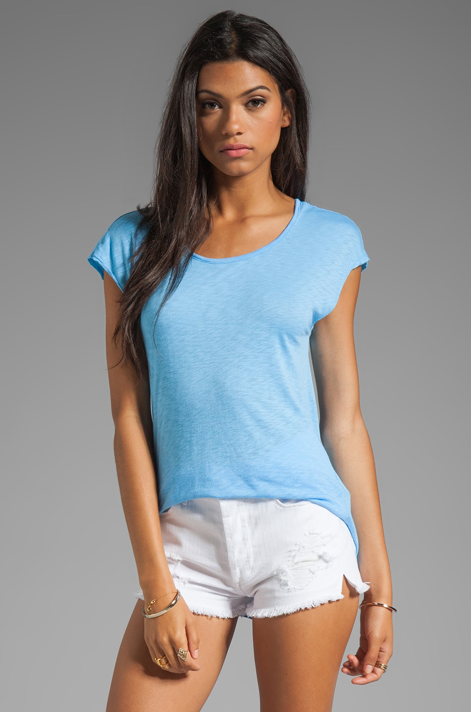 LA Made Slub Jersey Deep V Back Tee in Morning Glory