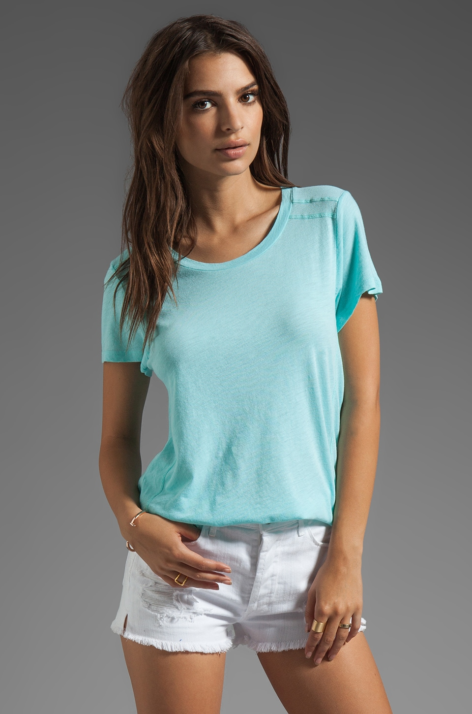 LA Made Slub Jersey Short Sleeve Crew in Mint Leaf