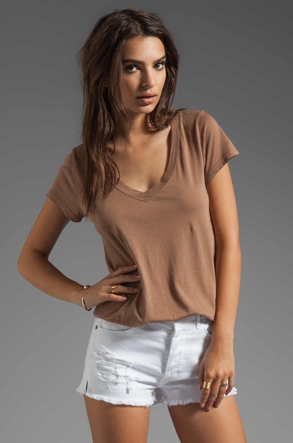 LA Made Micromodal Jersey Low V Neck BF Tee in Iced Coffee