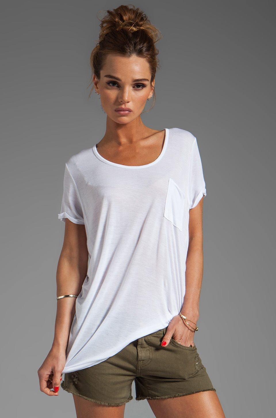 LA Made Viscose Jersey Rolled Sleeve Tee in White