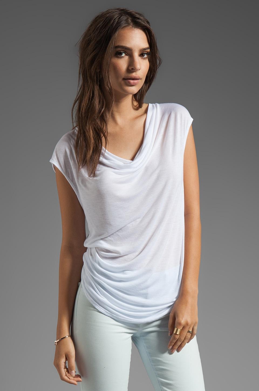 LA Made Viscose Jersey Round Top in White