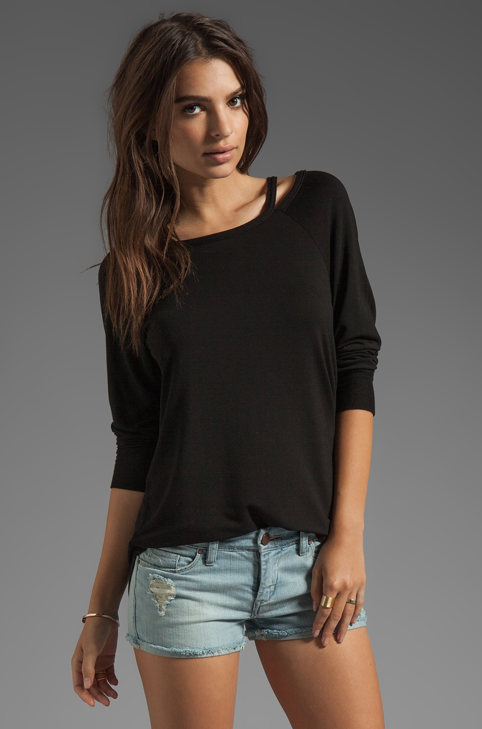 LA Made Cut Out Boatneck Pullover in Black
