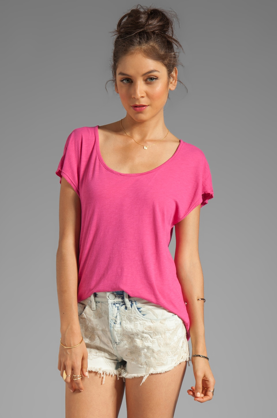 LA Made Slub Jersey Deep V Back Tee in Cosmopolitan