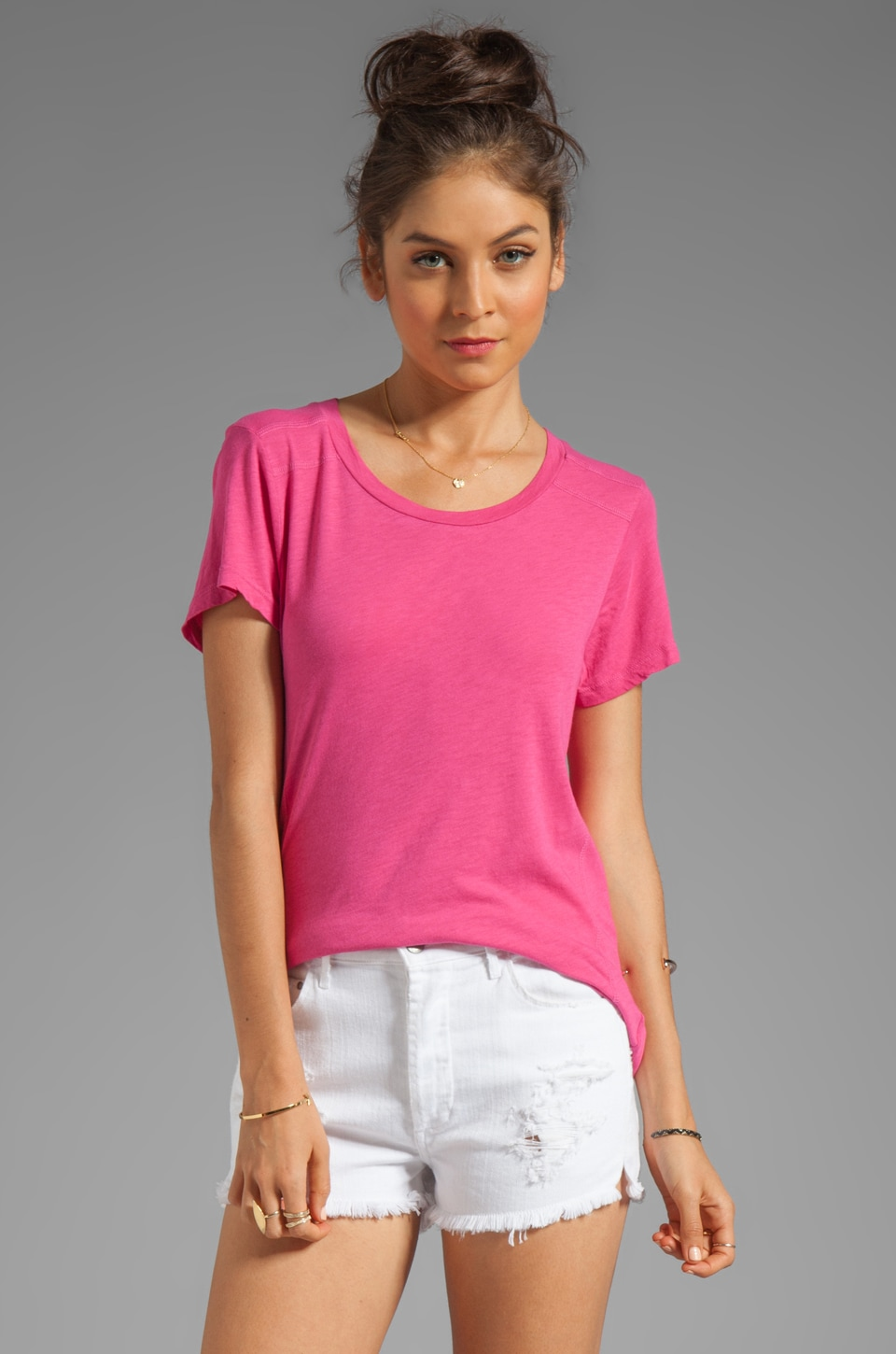 LA Made Slub Jersey Crew Neck Tee in Cosmopolitan