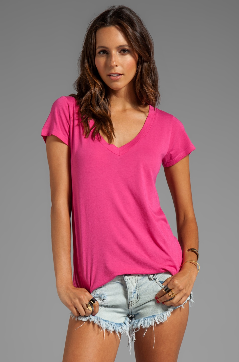 LA Made Micromodal Jersey Low V BF Tee in Cosmopolitan
