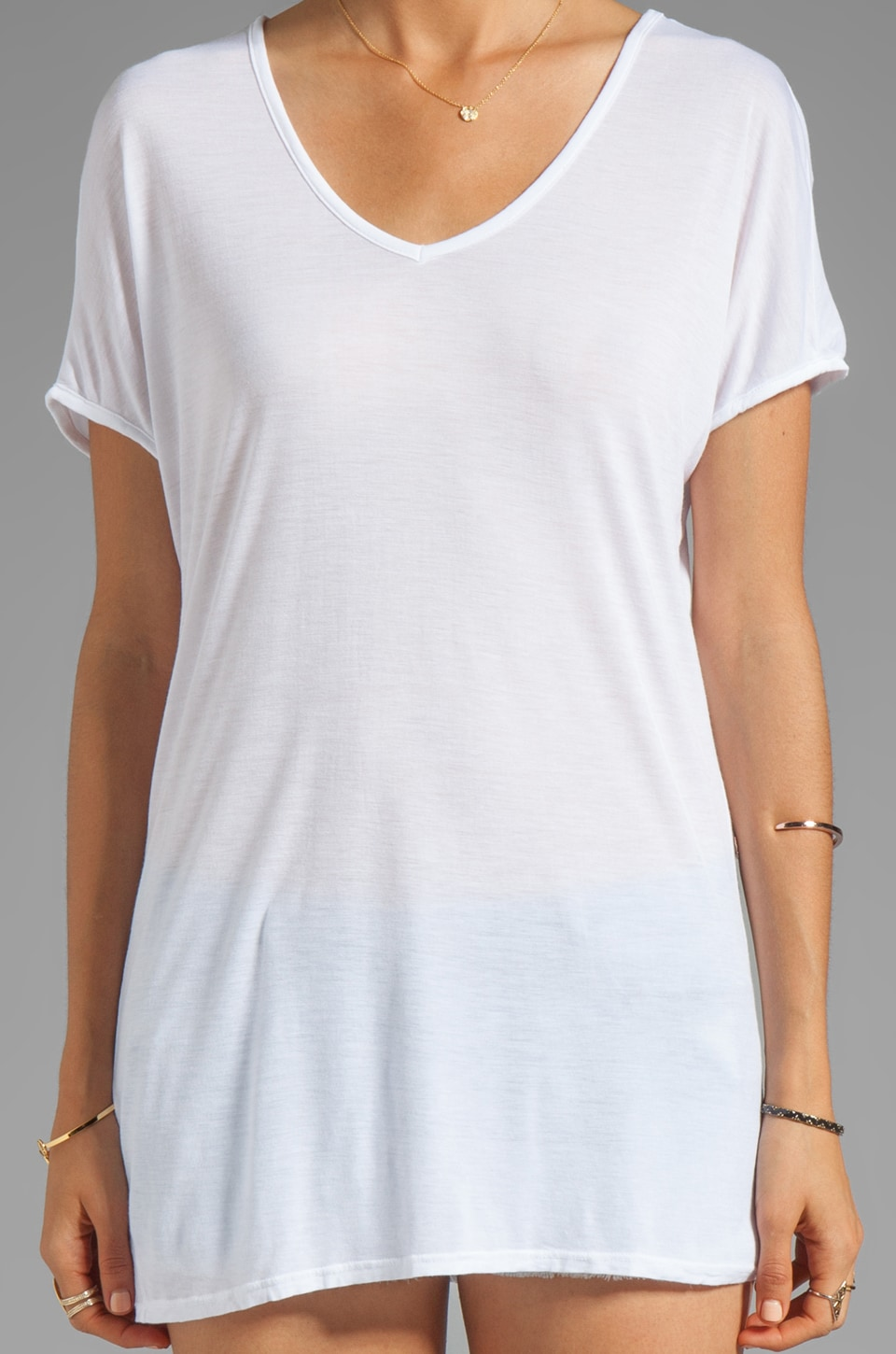 LA Made Viscose Jersey Double V Slouch Tee in White