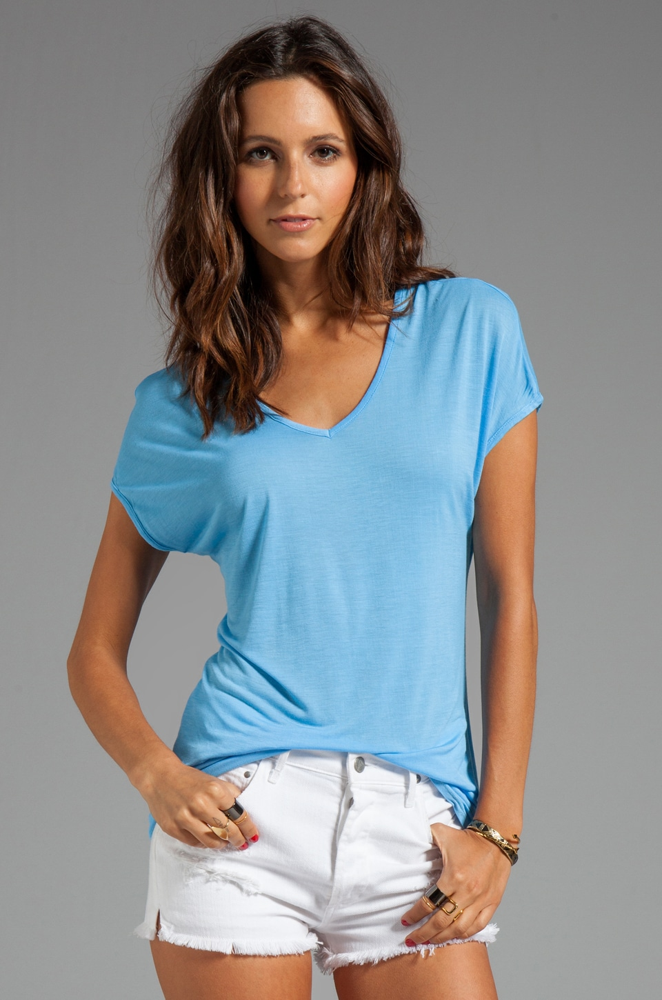 LA Made Viscose Jersey Double V Slouch Tee in Morning Glory