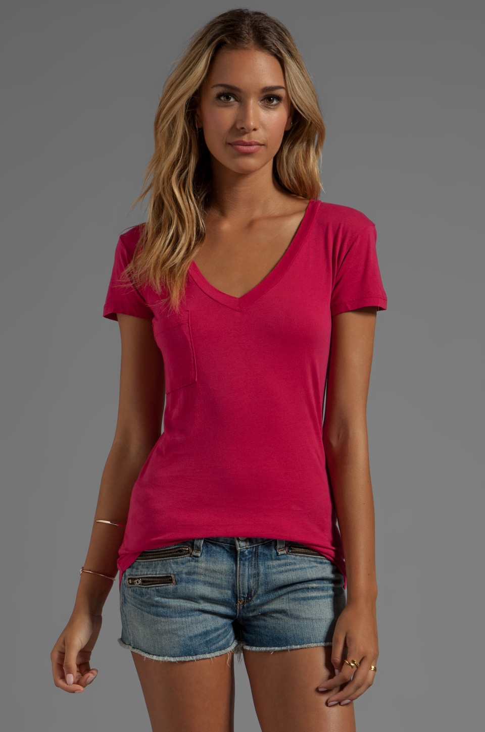 LA Made Tissue Jersey V-Neck Pocket Tee in Scarlet