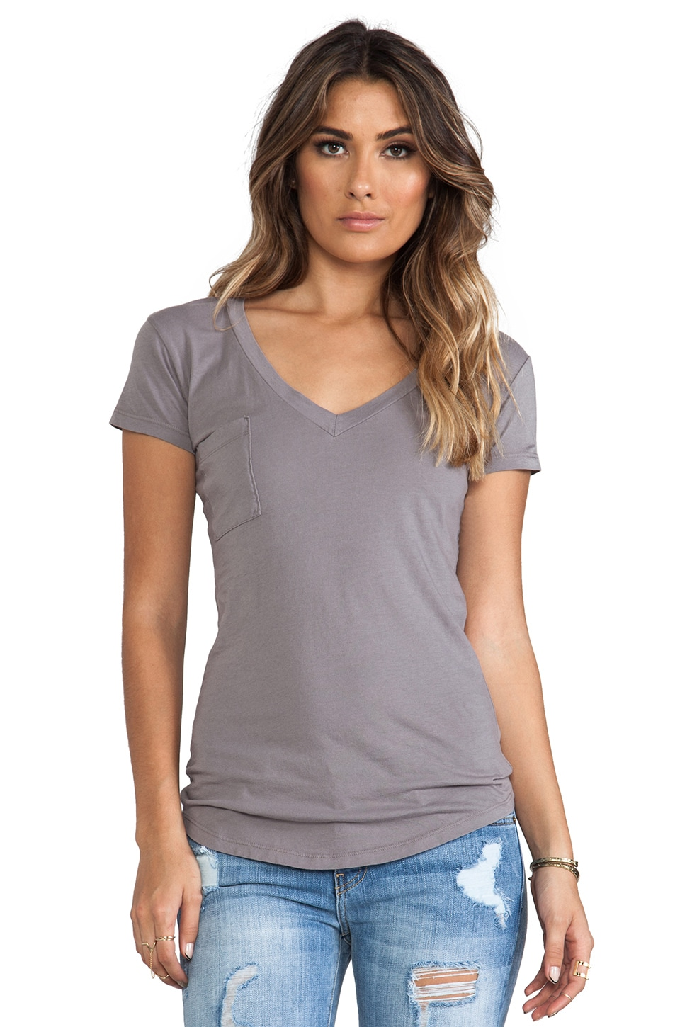 LA Made Tissue Jersey V-Neck Pocket Tee in Chateau Grey