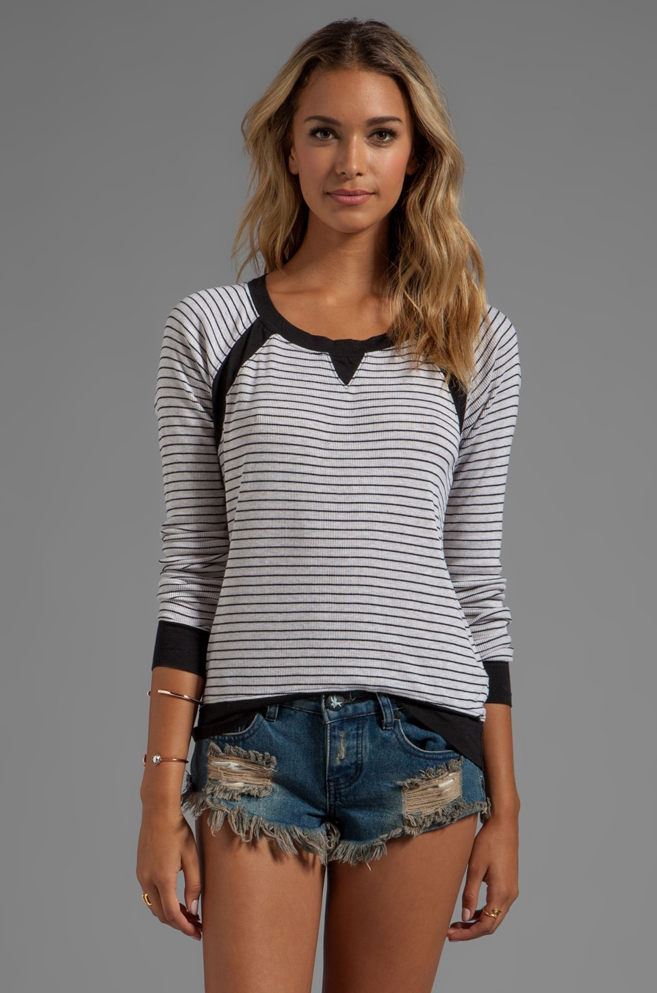 LA Made Long Sleeve Striped Pull Over in Oatmeal/Black
