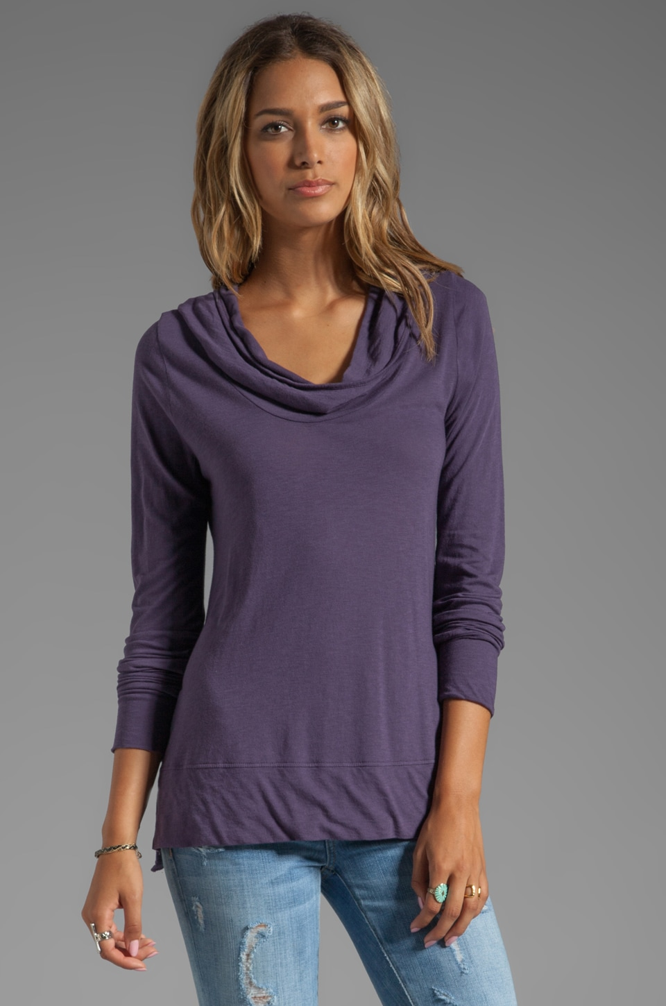 LA Made Long Sleeve Draped Hoody in Deep Iris