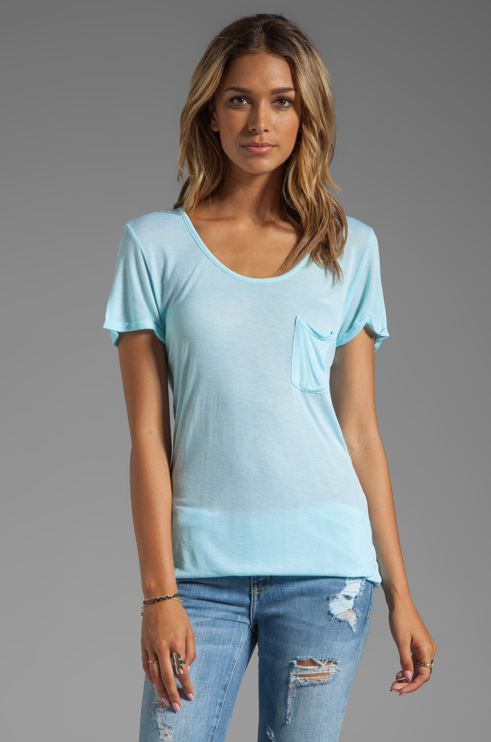 LA Made Rolled-Up Open Neck Tee in Petite Blue