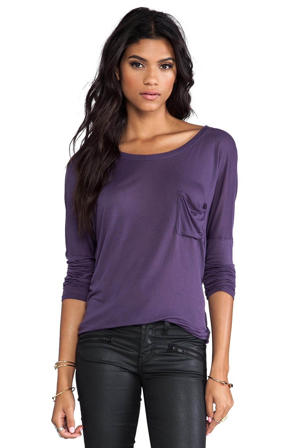 LA Made Dropped Shoulder Top in Deep Iris