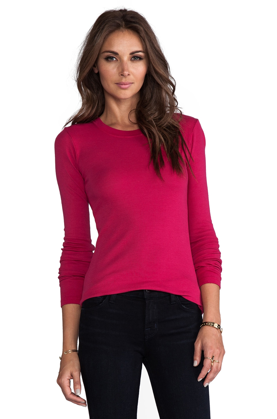 LA Made Long Sleeve Crew Neck Top in Scarlet Red