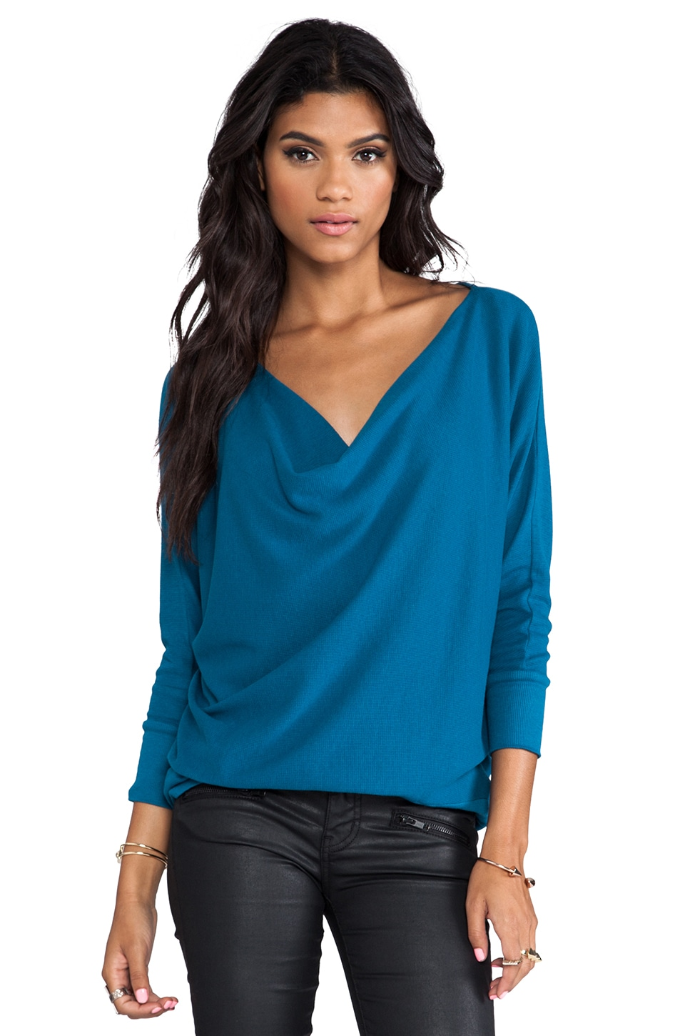 LA Made Aiden Dolman Long Sleeve Top in Imperial Blue