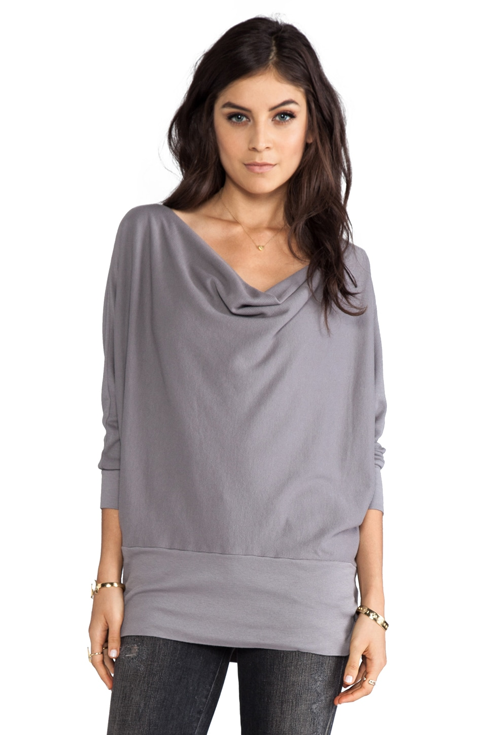 LA Made Aiden Dolman Long Sleeve Top in Chateau Grey