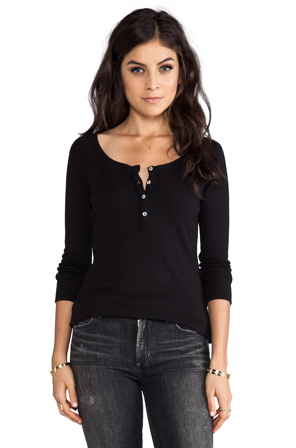 LA Made Long Sleeve Reglan Top in Black