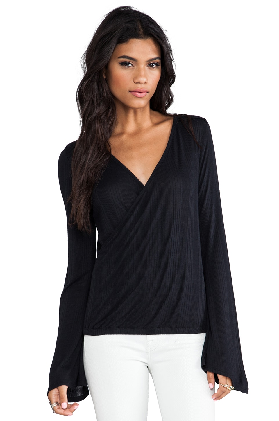 LA Made Bell Sleeve Wrap Top with Lace in Black/Black