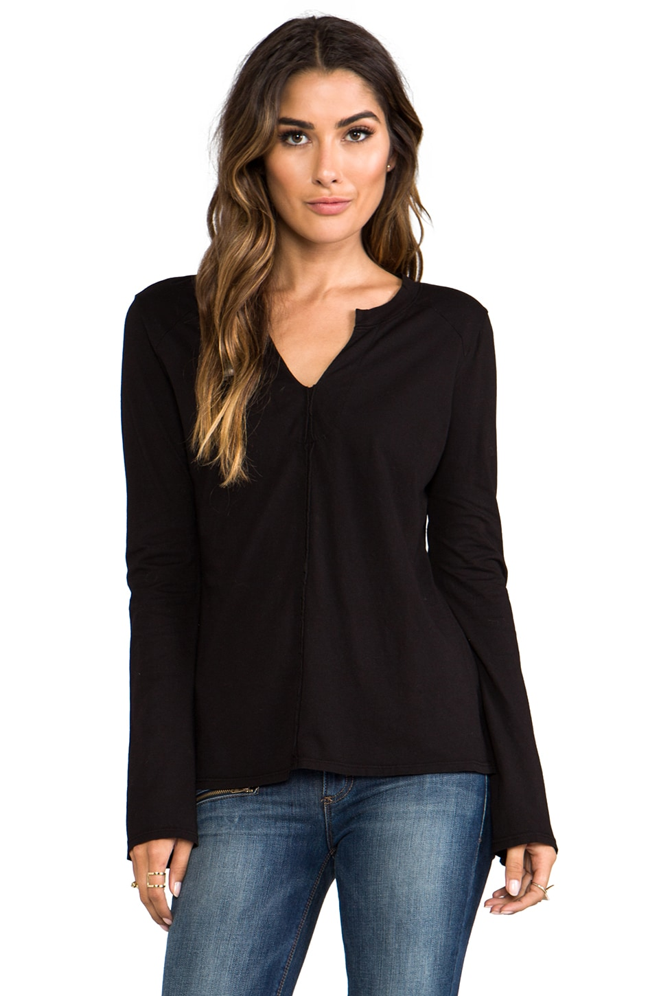 LA Made Tissue Jersey Long Sleeve Mandarin Tunic in Black
