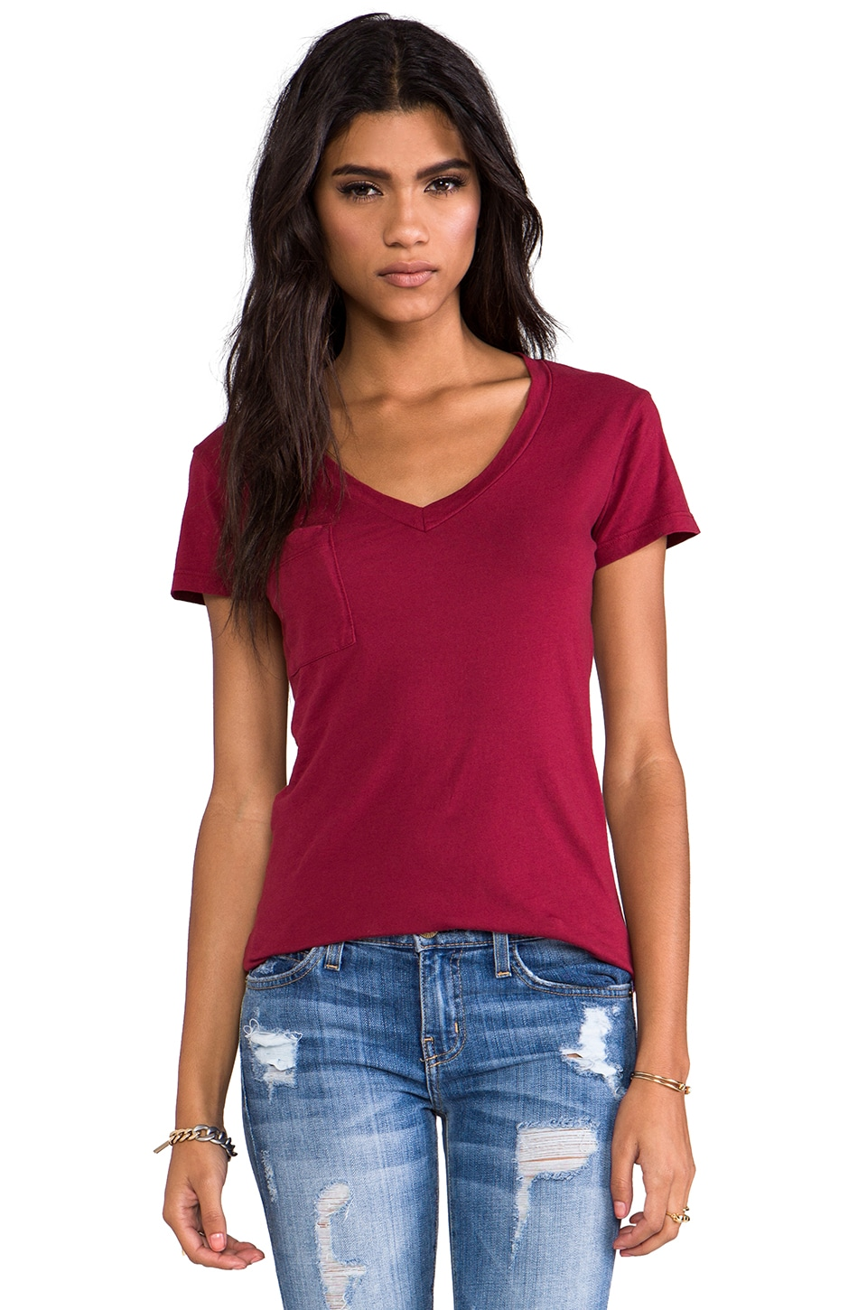 LA Made Tissue Jersey V-Pocket Tee in Rouge