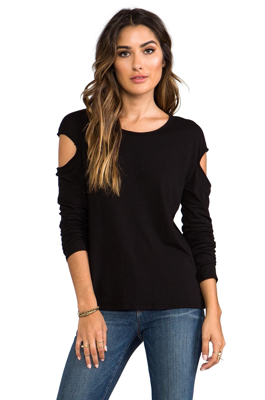 LA Made Slub Jersey Long Sleeve Cut Out Top in Black
