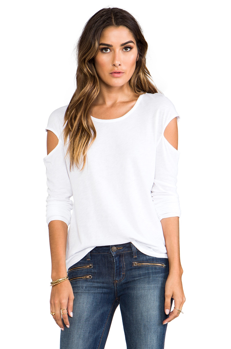 LA Made Slub Jersey Long Sleeve Cut Out Top in White