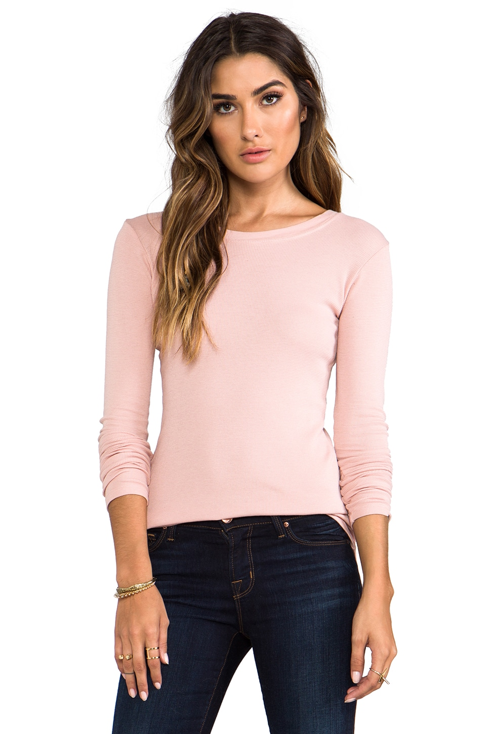 LA Made Thermal Long Sleeve Crew Neck Top in Rosebud