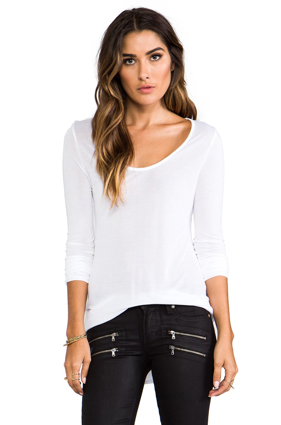 LA Made Sheer Jersey Scoop Neck Tee in White