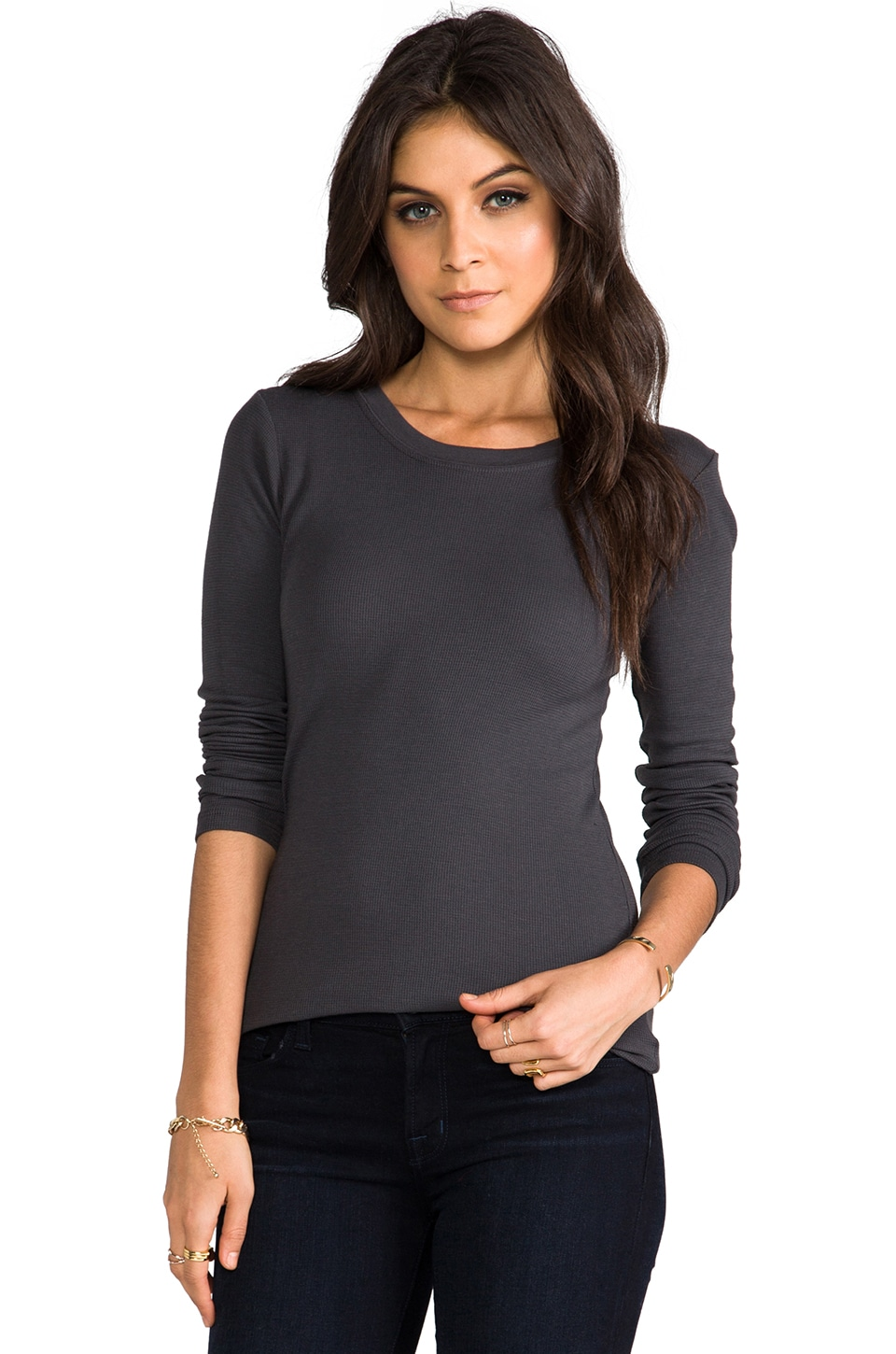LA Made Thermal Long Sleeve Crew Neck in Raven