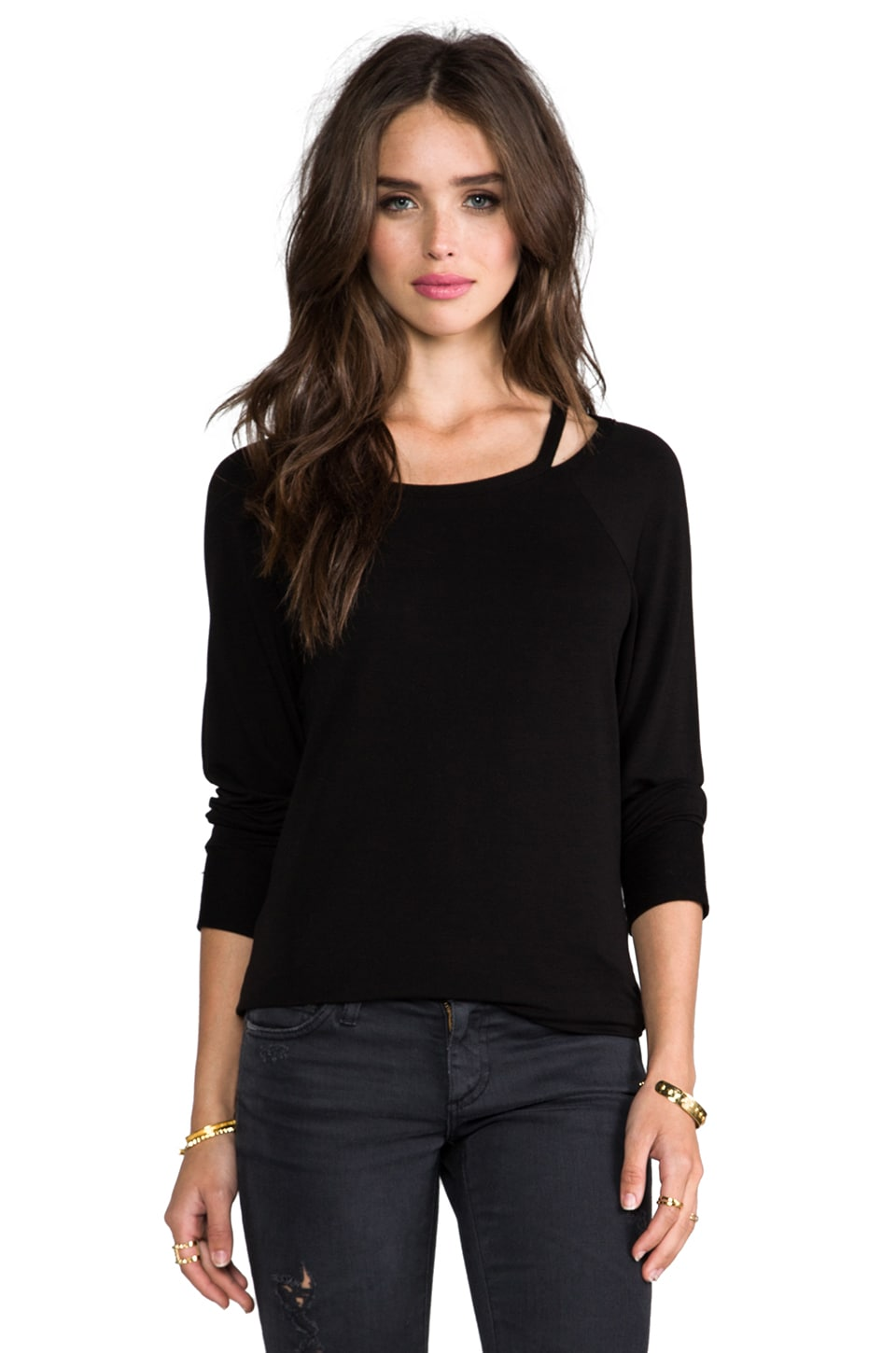 LA Made Supersoft Cut-Out Boatneck Pullover in Black