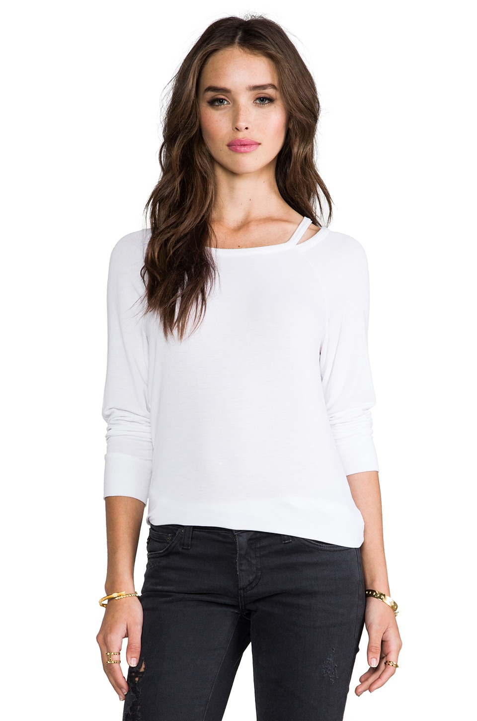 LA Made Supersoft Cut-Out Boatneck Pullover in White