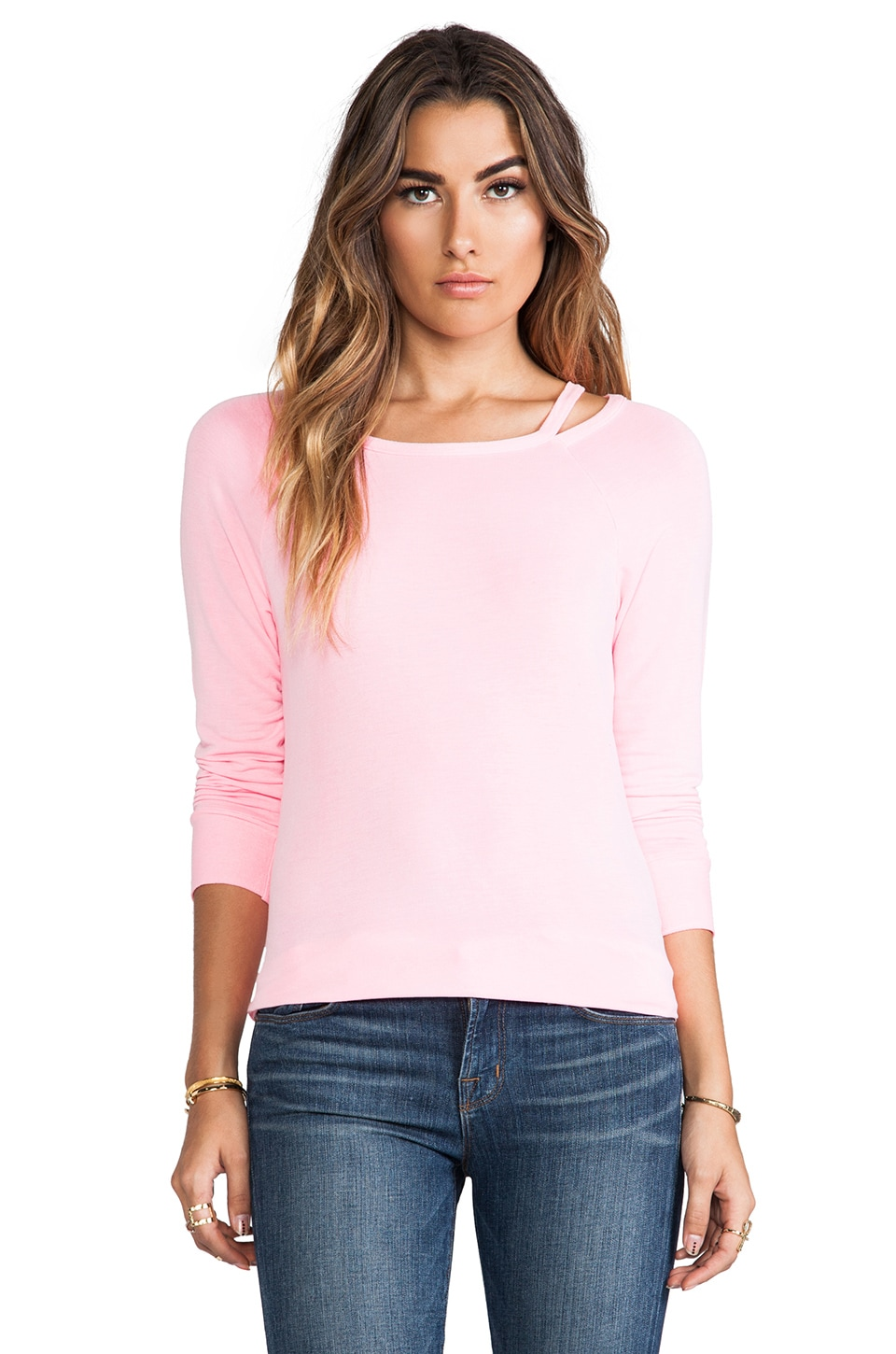LA Made Supersoft Cut-Out Boatneck Pullover in Laurel Flower