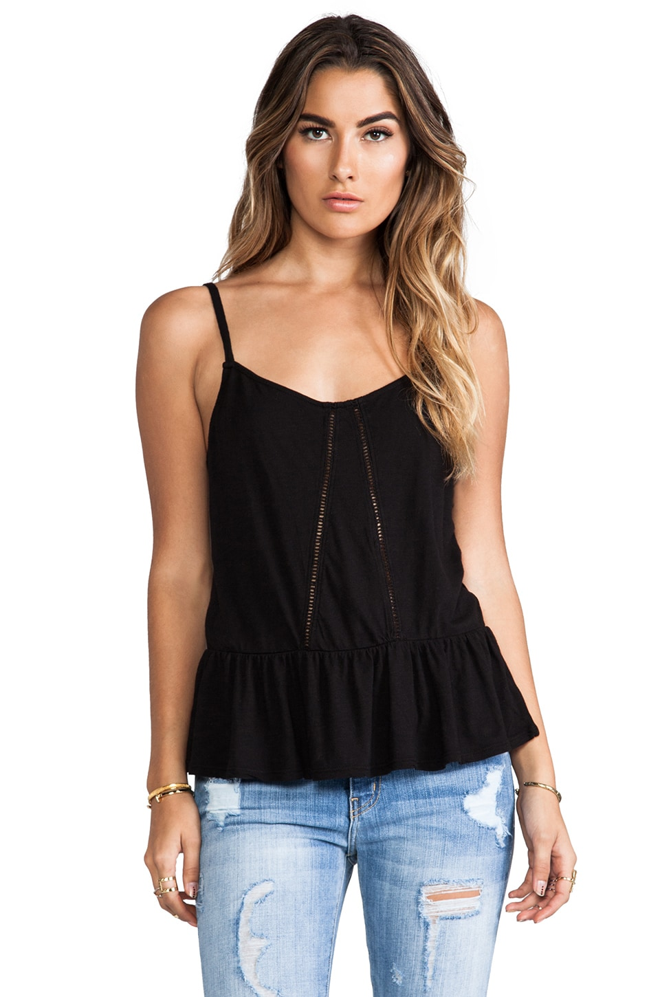 LA Made Ruffle Tank in Black
