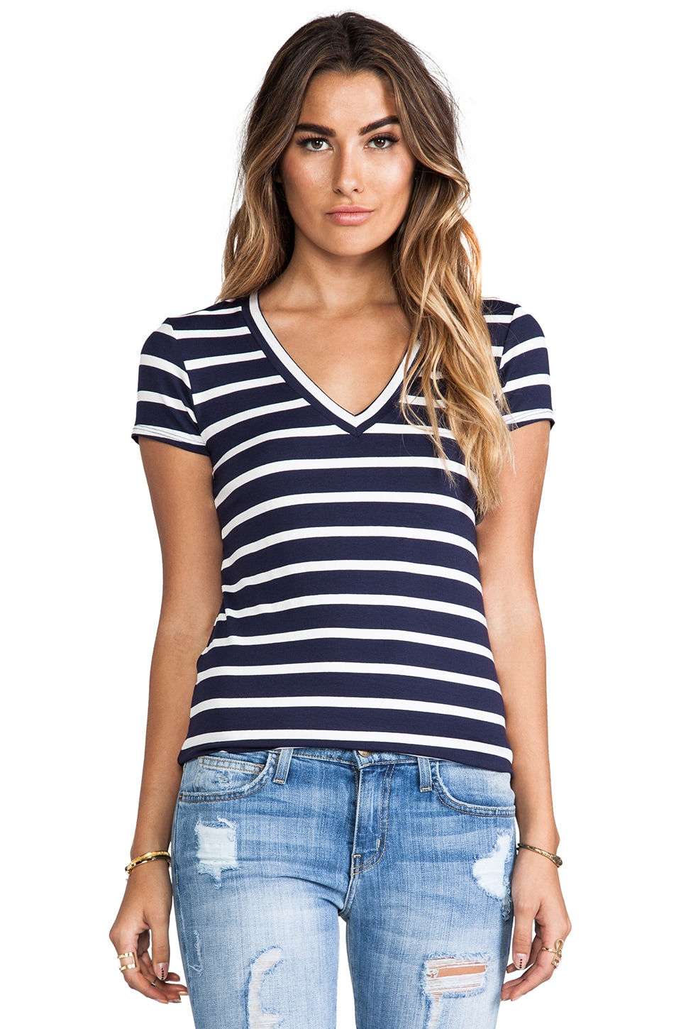 LA Made Classic Stripe V Neck Tee in Navy & White