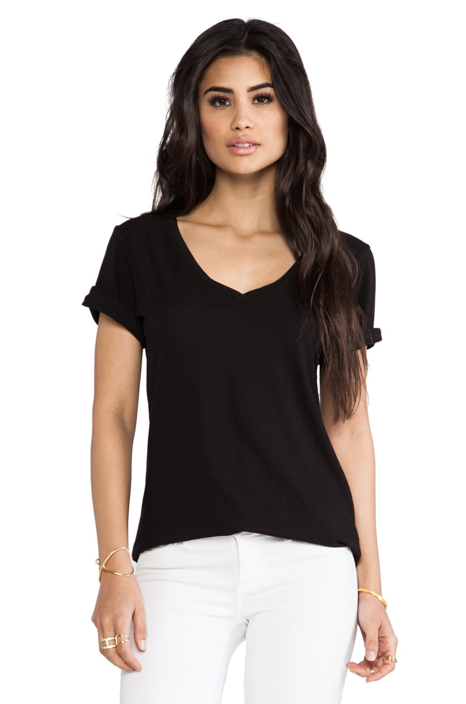 LA Made Luxury Jersey Roll Sleeve Staple V Tee in Black