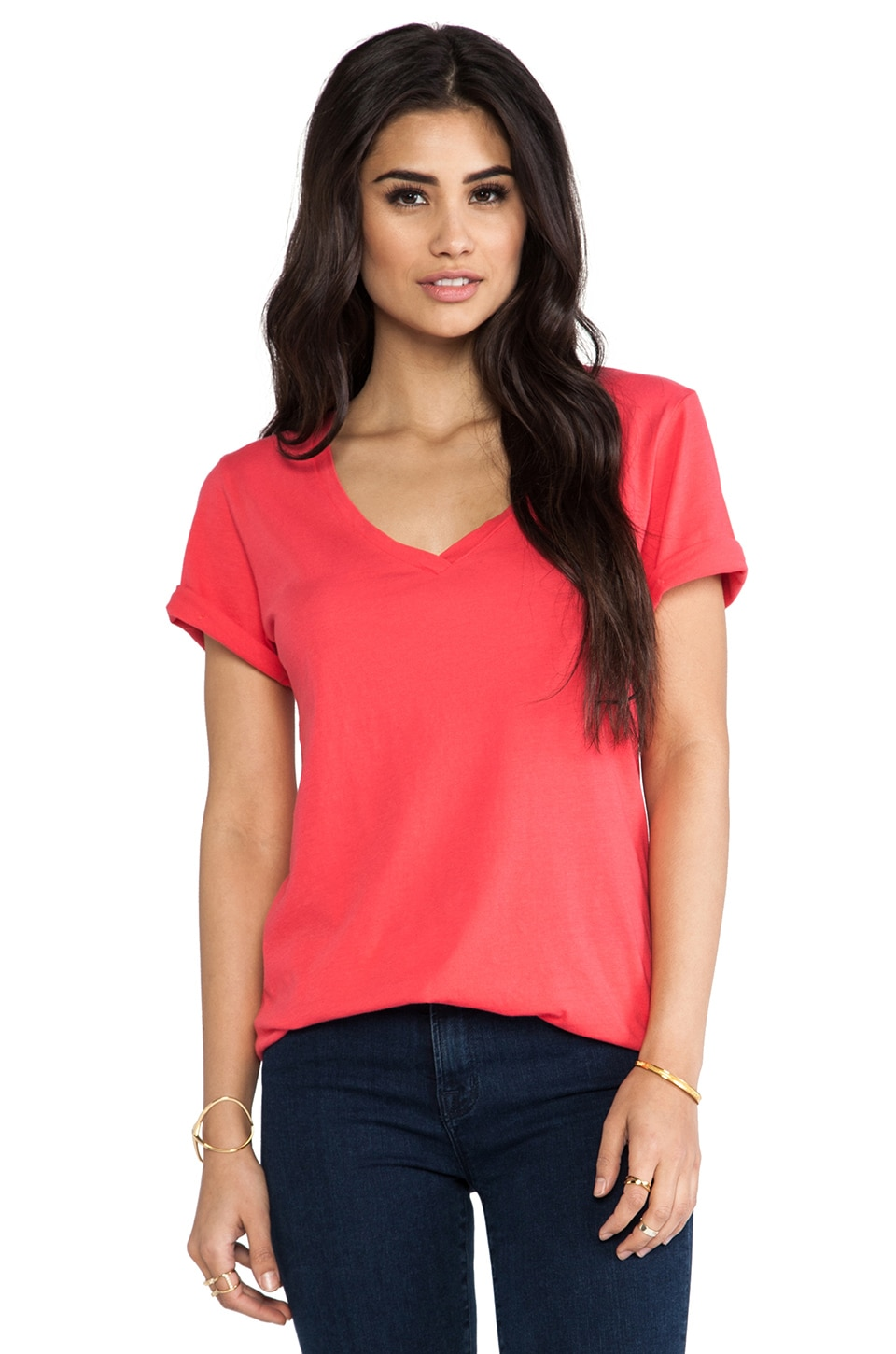 LA Made Luxury Jersey Roll Sleeve Staple V Tee in Teaberry